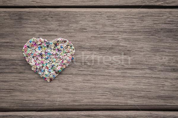 Kolorowy miłości serca drewna przestrzeni tekst Zdjęcia stock © vinnstock