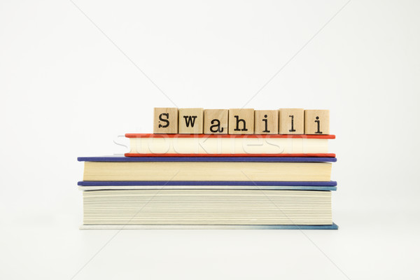 swahili language word on wood stamps and books Stock photo © vinnstock