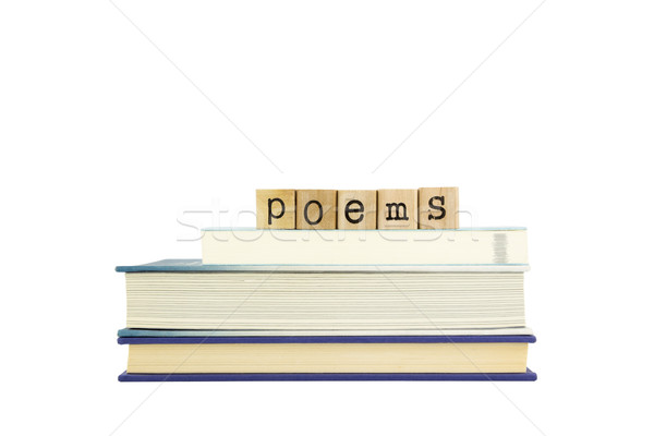 Woord hout postzegels boeken poëzie Stockfoto © vinnstock