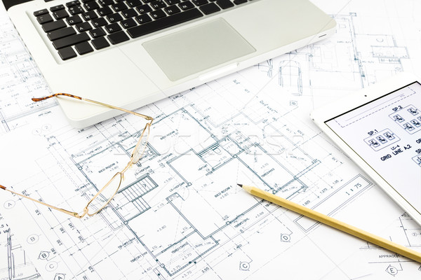 house blueprints and floor plan with notebook Stock photo © vinnstock