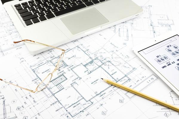 Domu plany notebooka architektury działalności Zdjęcia stock © vinnstock