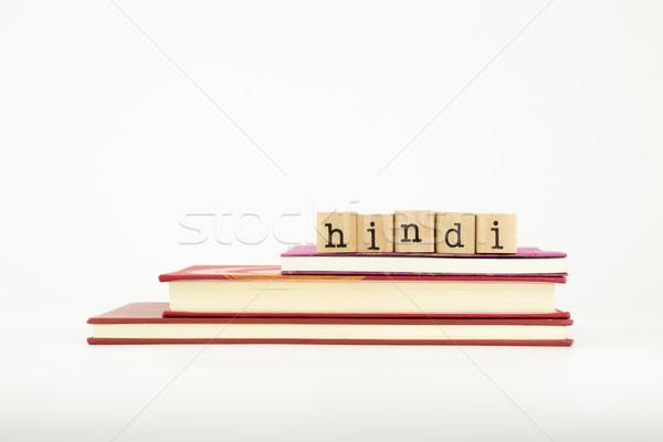 hindi language word on wood stamps and books Stock photo © vinnstock