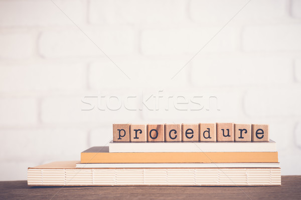 Szó eljárás copy space ábécé fából készült gumi Stock fotó © vinnstock