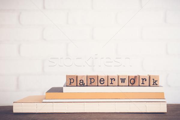 Szó papírmunka üres hely ábécé fából készült kockák Stock fotó © vinnstock
