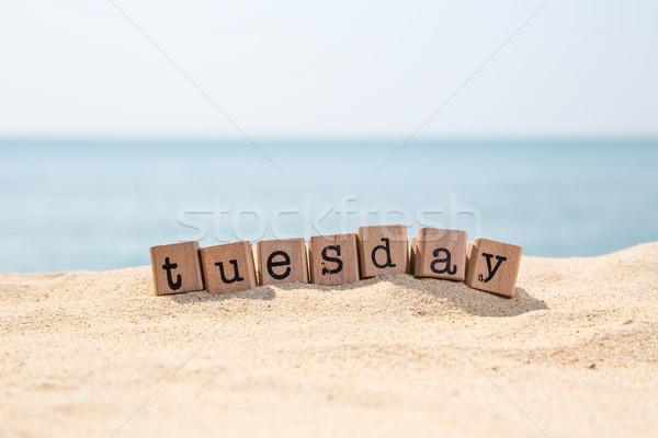 Mot mer plage bois caoutchouc timbres Photo stock © vinnstock