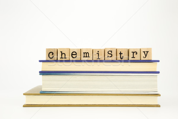 chemistry word on wood stamps and books Stock photo © vinnstock