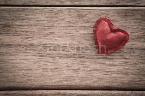 Red valentine heart on wood background with space for text Stock photo © vinnstock