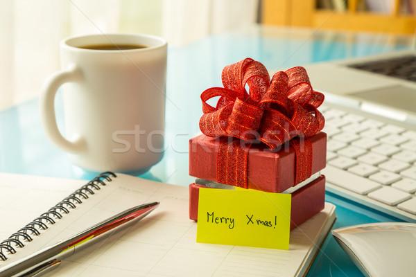 Photo stock: Noël · coffret · cadeau · accueil · un · message · fêtes · rouge