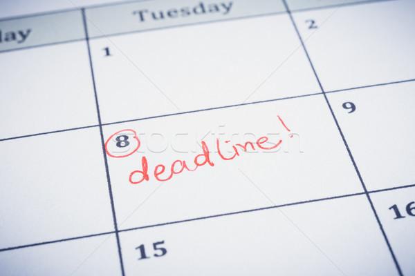 Deadline date writting on timeline planner.  Stock photo © vinnstock