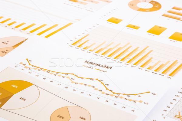 Citromsárga üzlet táblázatok grafikonok jelentés jelentések Stock fotó © vinnstock