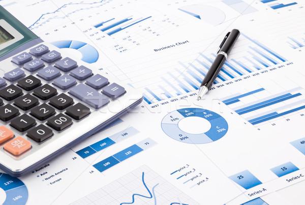 Blauw business charts grafieken informatie rapporten Stockfoto © vinnstock