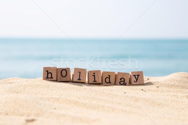 Fêtes mot ensoleillée plage océan vacances Photo stock © vinnstock