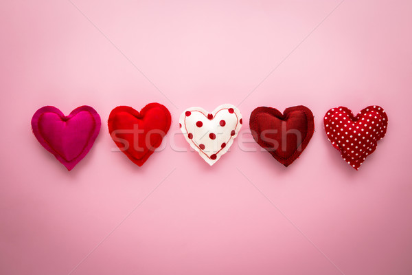 Red tone sweet love hearts handmade crafts for valentine's day Stock photo © vinnstock