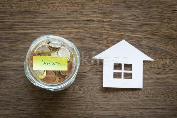Adományoz pénz hajléktalan felső kilátás világ Stock fotó © vinnstock