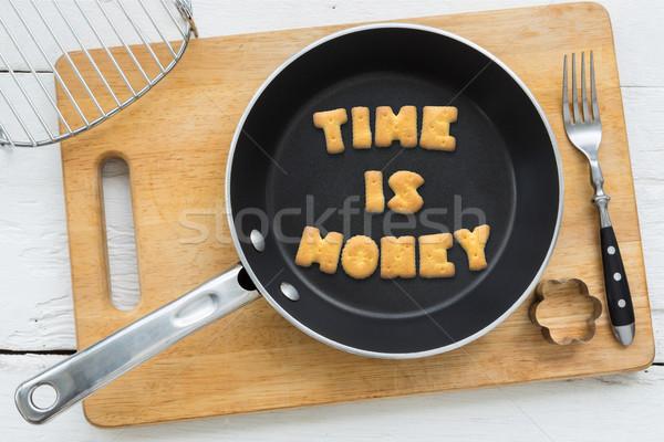 Brief biscuits citaat tijd is geld koken Stockfoto © vinnstock