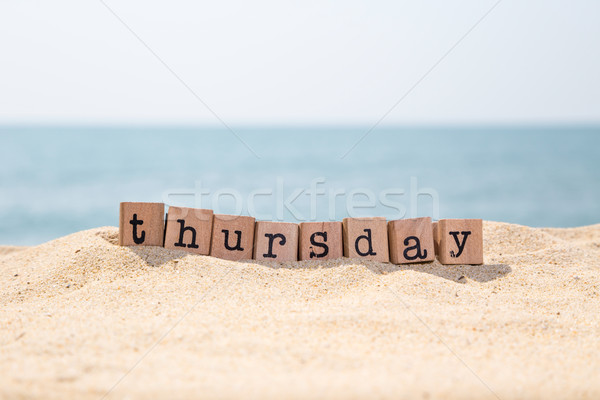 Palavra areia beira-mar madeira borracha selos Foto stock © vinnstock