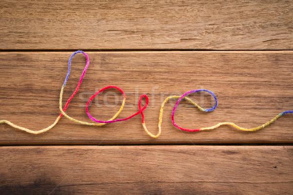 Zoete liefde woord vorm garen bruiloft Stockfoto © vinnstock