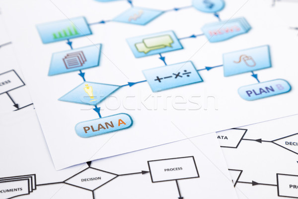 Affaires plan processus organigramme symboles Photo stock © vinnstock