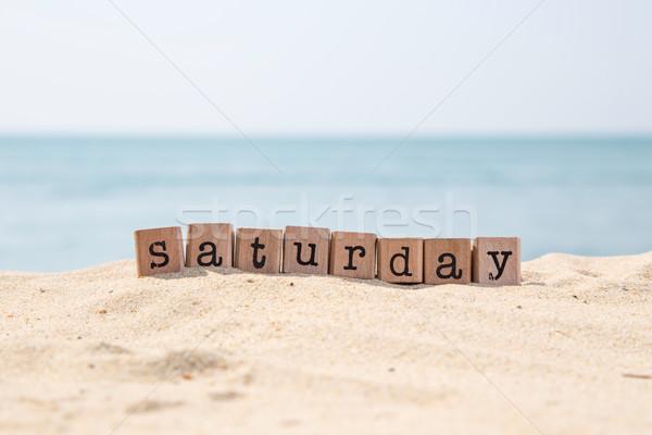 Cumartesi kelime güzel deniz görmek ahşap Stok fotoğraf © vinnstock