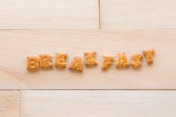 Szó reggeli ábécé kekszek fa felső Stock fotó © vinnstock
