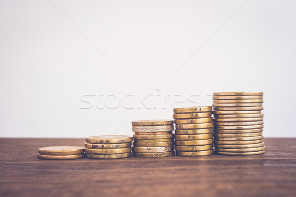 Increase coin stacks, saving money growth fund. Stock photo © vinnstock