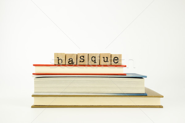 basque language word on wood stamps and books Stock photo © vinnstock