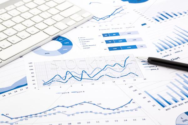 Kék grafikon diagram jelentések iroda asztal Stock fotó © vinnstock