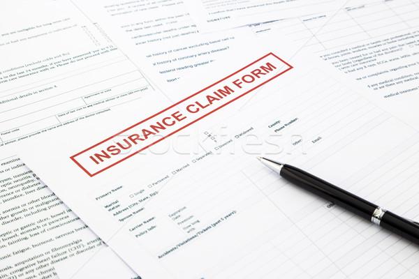 Verzekering beweren vorm papierwerk juridische document Stockfoto © vinnstock