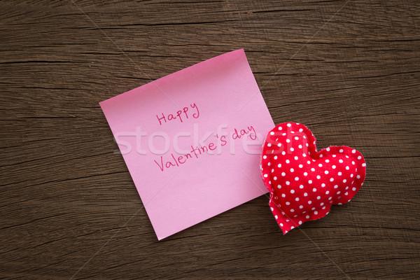 красный сердцах Валентин сведению текстура древесины Сток-фото © vinnstock