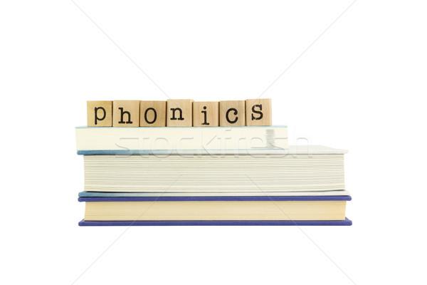 Kelime ahşap pulları kitaplar dil Stok fotoğraf © vinnstock