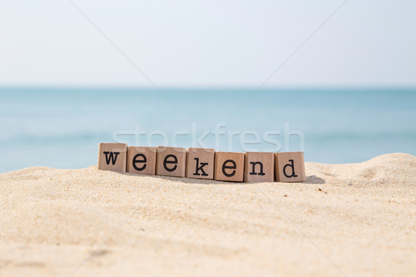 уик-энд пляж праздников слово древесины резиновые Сток-фото © vinnstock