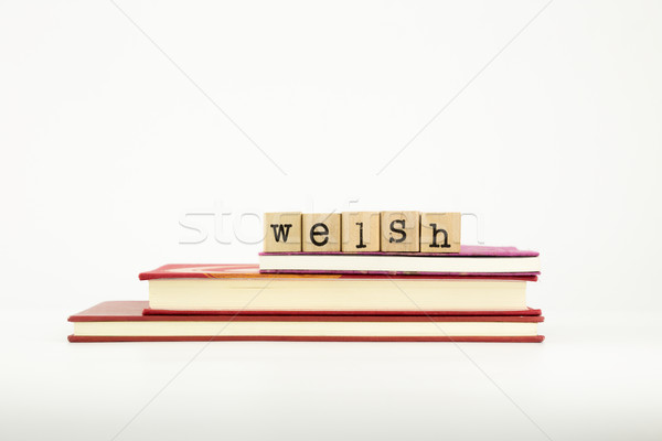 welsh language word on wood stamps and books Stock photo © vinnstock