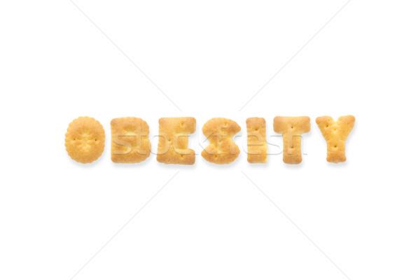 Schreiben Wort Fettleibigkeit Alphabet Cookie Kekse Stock foto © vinnstock