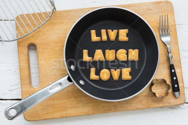 Lettera cookies parola vivere ridere amore Foto d'archivio © vinnstock