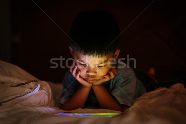 アジア 少年 を見て カラフル 明るい タブレット ストックフォト © vinnstock