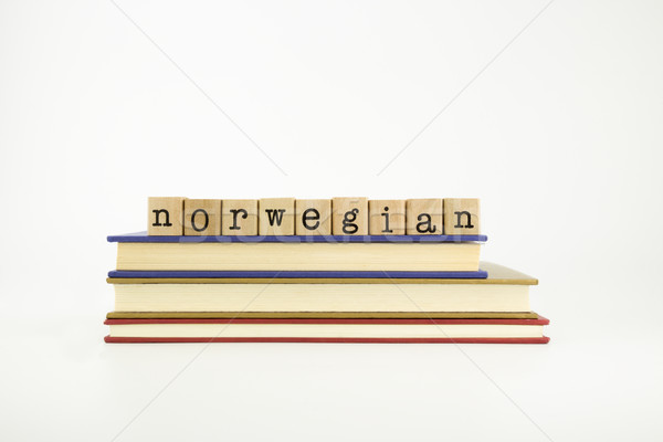 norwegain language word on wood stamps and books Stock photo © vinnstock