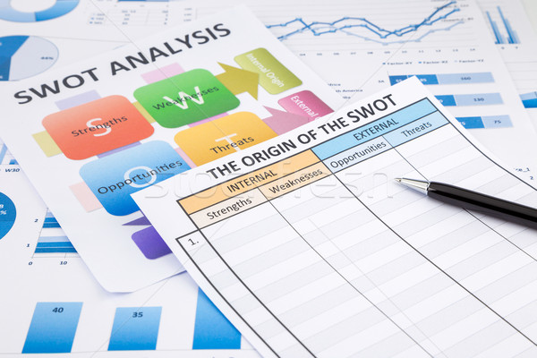 SWOT analysis document, flow chart and business graphs  Stock photo © vinnstock
