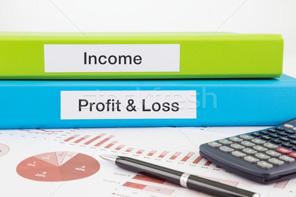 Jövedelem nyereség veszteség iratok jelentések szavak Stock fotó © vinnstock