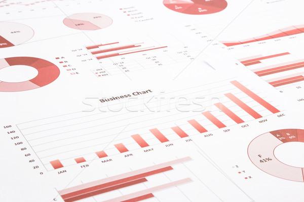 Piros üzlet táblázatok grafikonok éves jelentés Stock fotó © vinnstock