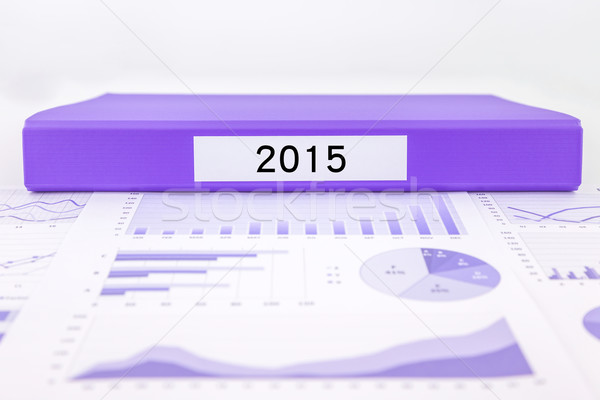 Year number 2015, graphs, charts and market trend reports Stock photo © vinnstock