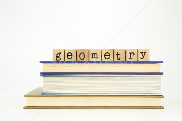 Geometri kelime ahşap pulları kitaplar Stok fotoğraf © vinnstock