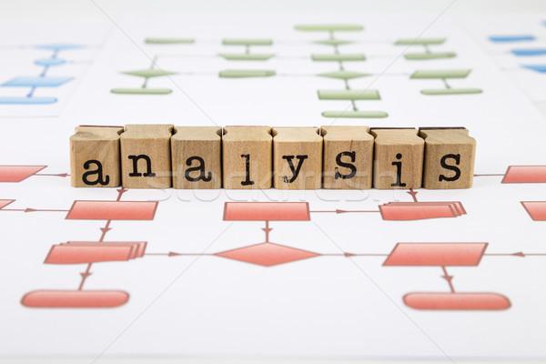 Analiz grafik kelime kauçuk ahşap pulları Stok fotoğraf © vinnstock