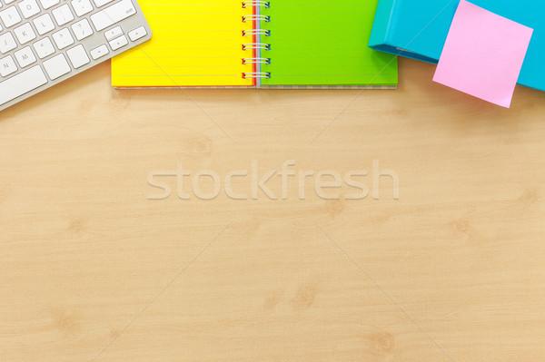 Top view blank desk workspace mockup flame. Stock photo © vinnstock