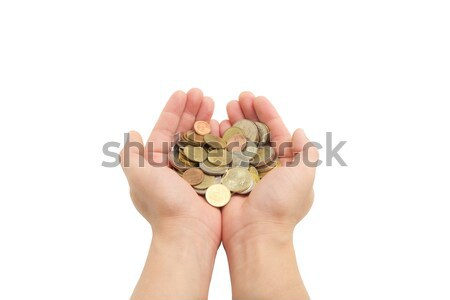 isolated of man's hands holding coins  Stock photo © vinnstock