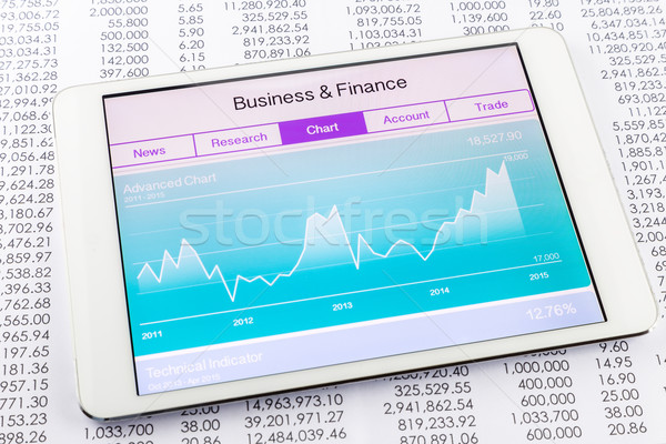 Grafiek grafiek beurs gegevens toepassing tablet Stockfoto © vinnstock