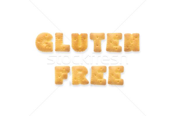 Mektup kelime glutensiz alfabe kurabiye bisküvi Stok fotoğraf © vinnstock