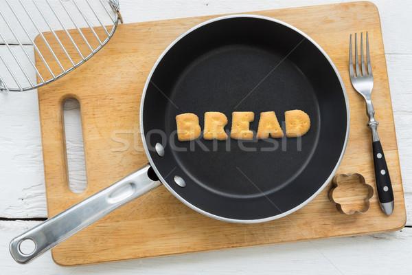 Alfabet woord brood schaal top Stockfoto © vinnstock