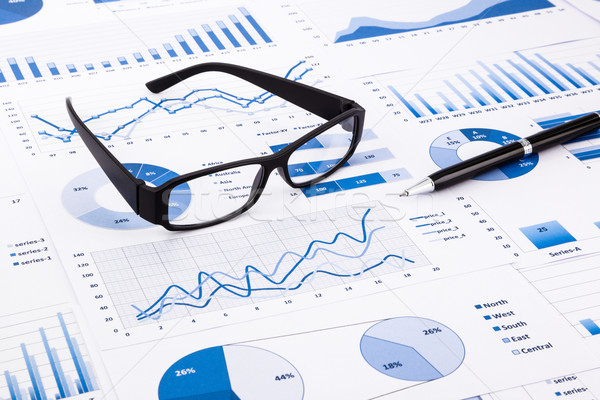 blue business charts, graphs, document and paperwork Stock photo © vinnstock