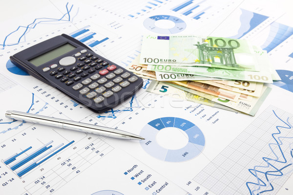 euro currency on graphs, financial planning and expense report b Stock photo © vinnstock