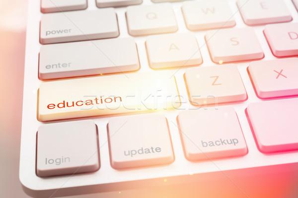 Fény oktatás gomb számítógép billentyűzet közelkép modern Stock fotó © vinnstock